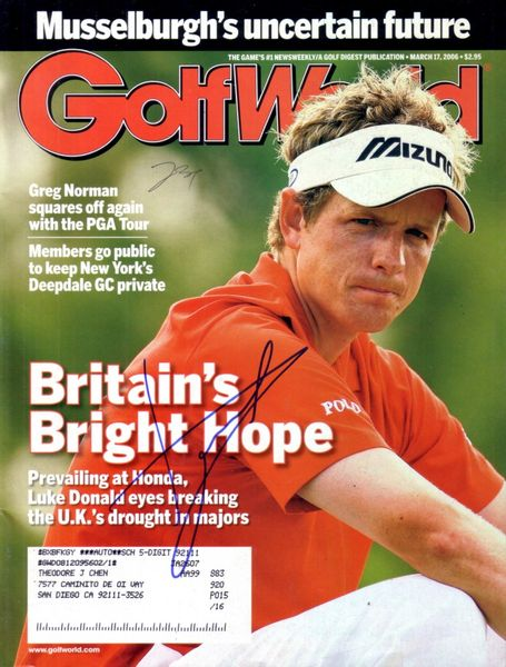 Luke Donald autographed 2006 Golf World magazine
