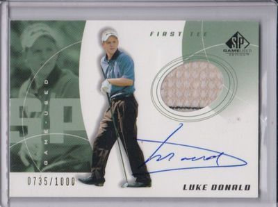 Luke Donald certified autograph worn shirt 2002 SP Golf card
