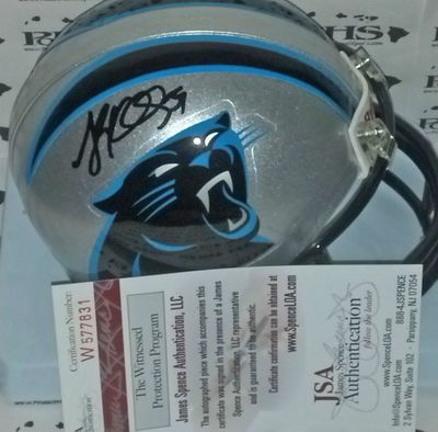 Luke Kuechly autographed Carolina Panthers mini helmet (JSA Witnessed)
