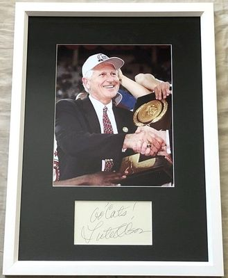 Lute Olson autograph framed with Arizona Wildcats 1997 National Championship 8x10 photo inscribed Go Cats!