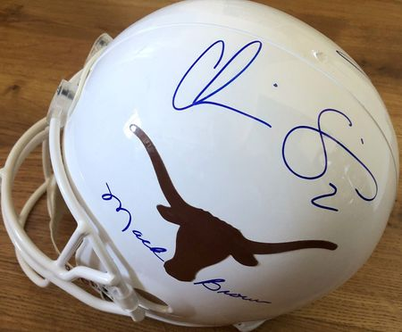 Mack Brown Earl Campbell Colt McCoy Roy Williams Major Applewhite Chris Simms autographed Texas Longhorns full size helmet