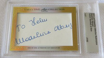 Madeleine Albright 2015 Leaf Masterpiece Cut Signature certified autograph card 1/1 JSA