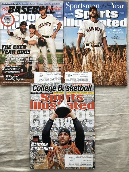 Madison Bumgarner San Francisco Giants lot of 3 Sports Illustrated issues