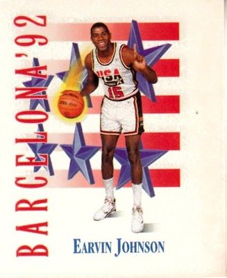 Magic Johnson 1991-92 SkyBox USA Dream Team Mark and See mini card