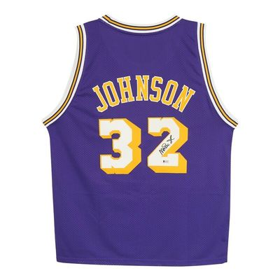 Magic Johnson autographed Los Angeles Lakers authentic Reebok stitched purple jersey (BAS Witnessed)