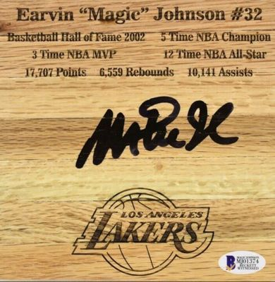 Magic Johnson autographed Los Angeles Lakers engraved 6x6 basketball hardwood floor (BAS authenticated)
