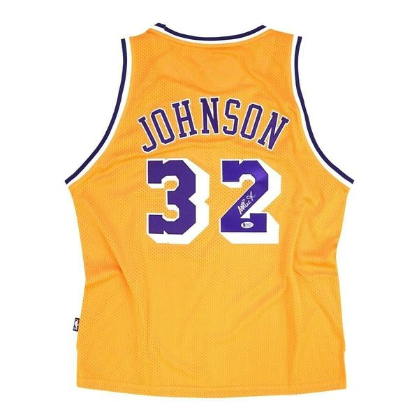 Magic Johnson autographed Los Angeles Lakers authentic Reebok stitched jersey (BAS authenticated)