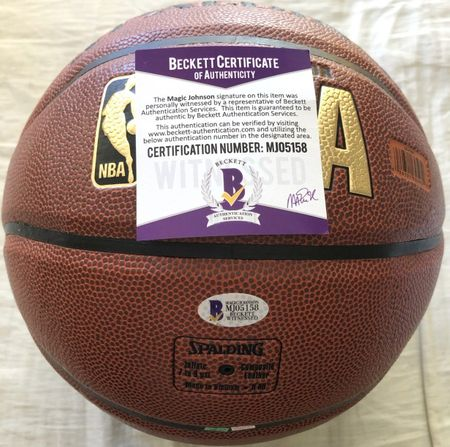 Magic Johnson autographed Spalding NBA Indoor/Outdoor basketball (BAS authenticated)