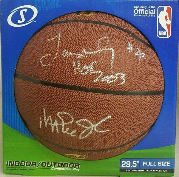 Magic Johnson and James Worthy autographed Spalding NBA Indoor/Outdoor basketball (PSA/DNA)