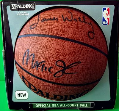 Magic Johnson James Worthy Mychal Thompson autographed Spalding NBA All-Court basketball