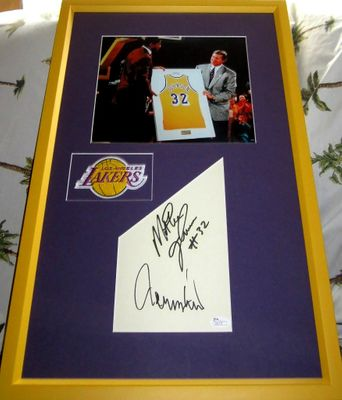 Magic Johnson and Jerry West autographs matted and framed with Los Angeles Lakers 8x10 photo (JSA)