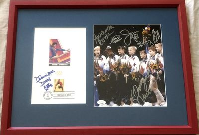 1996 US Olympic Gymnastics Gold Medal Team (Magnificent 7) autographed 8x10 matted and framed (JSA)