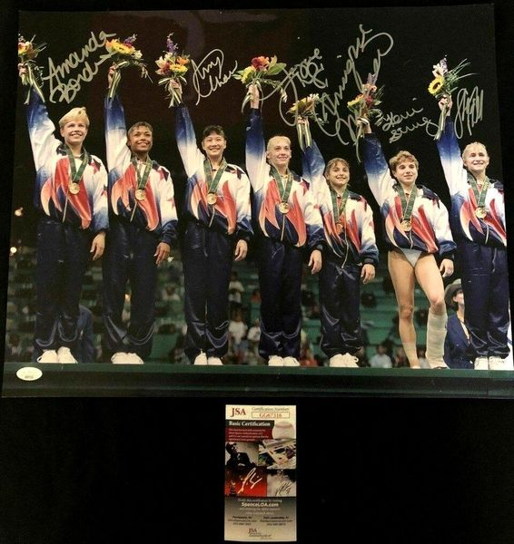 1996 US Olympic Gymnastics Gold Medal Team (Magnificent 7) autographed 16x20 poster size photo (JSA)
