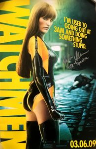 Malin Akerman autographed Watchmen 2009 original mini movie poster inscribed Silk Spectre
