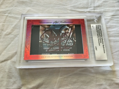 Manny Pacquiao and Kid Gavilan 2017 Leaf Masterpiece Cut Signature certified autograph card 1/1 JSA