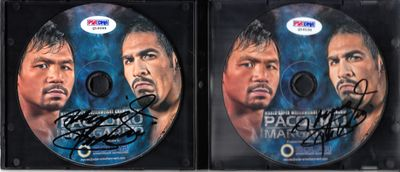 Manny Pacquiao double autographed Pacquiao vs. Margarito set of 2 DVDs (PSA/DNA)