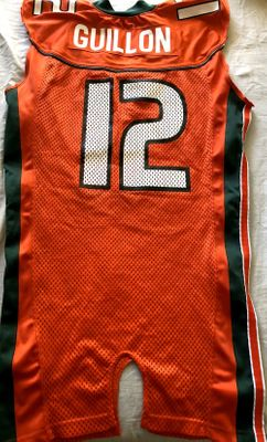 Marc Guillon Miami Hurricanes 2002 Nike game used or worn orange jersey