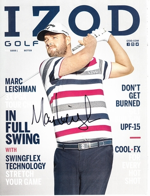 Marc Leishman autographed Izod golf magazine back cover