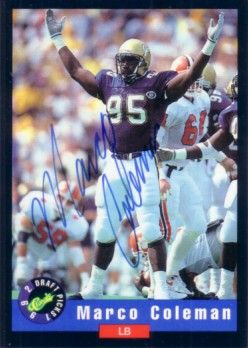 Marco Coleman certified autograph Georgia Tech 1992 Classic card