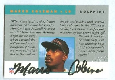 Marco Coleman Miami Dolphins certified autograph 1992 Pro Line card
