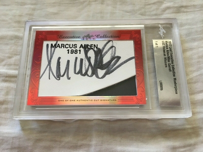 Marcus Allen and Mike Garrett 2017 Leaf Masterpiece Cut Signature certified autograph card 1/1 JSA