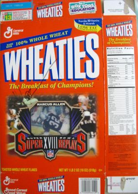 Marcus Allen autographed Raiders Super Bowl 18 Wheaties commemorative box