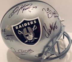 Heisman winners Marcus Allen Tim Brown Billy Cannon Bo Jackson Jim Plunkett autographed Raiders full size helmet (GTSM)