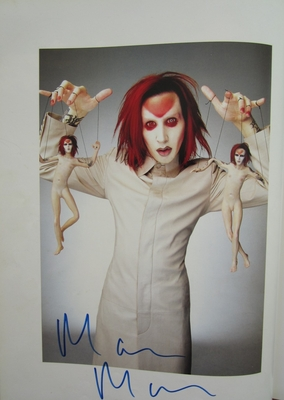 Marilyn Manson autographed 11x14 Rolling Stone book photo