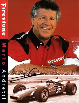Mario Andretti autographed Firestone 8 1/2 by 11 promotional photo