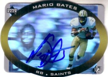 Mario Bates autographed New Orleans Saints 1996 SPx hologram card