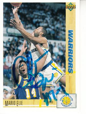 Mario Elie autographed Golden State Warriors 1991-92 Upper Deck Rookie Card