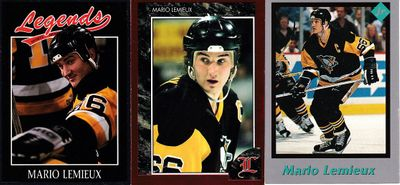 Mario Lemieux Pittsburgh Penguins 1991 and 1992 Legends and 1991 Tuff Stuff Jr. cards