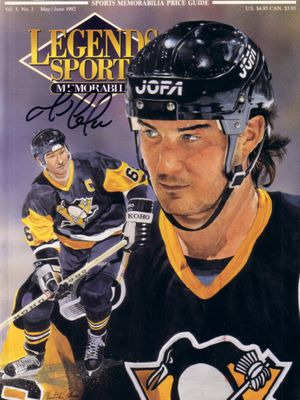 Mario Lemieux autographed Pittsburgh Penguins 1992 Legends magazine