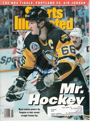 Mario Lemieux autographed Pittsburgh Penguins 1992 Stanley Cup Sports Illustrated
