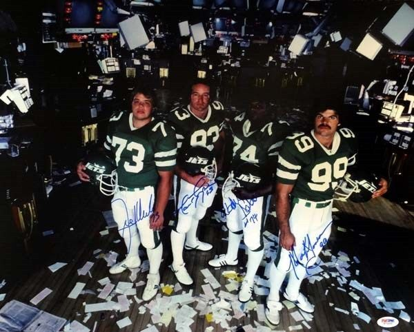 Mark Gastineau Joe Klecko Marty Lyons Abdul Salaam autographed New York Sack Exchange 16x20 poster size photo (PSA/DNA)