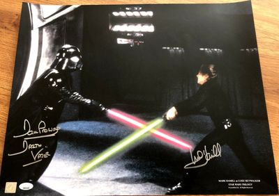 Mark Hamill and Dave Prowse autographed Star Wars Return of the Jedi 16x20 Luke Skywalker vs Darth Vader poster (JSA)