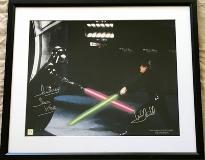 Mark Hamill and Dave Prowse autographed Star Wars Return of the Jedi 16x20 Luke Skywalker vs Darth Vader poster matted and framed