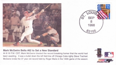 Mark McGwire Home Run 62 1998 Photo File cachet envelope (passes Roger Maris)