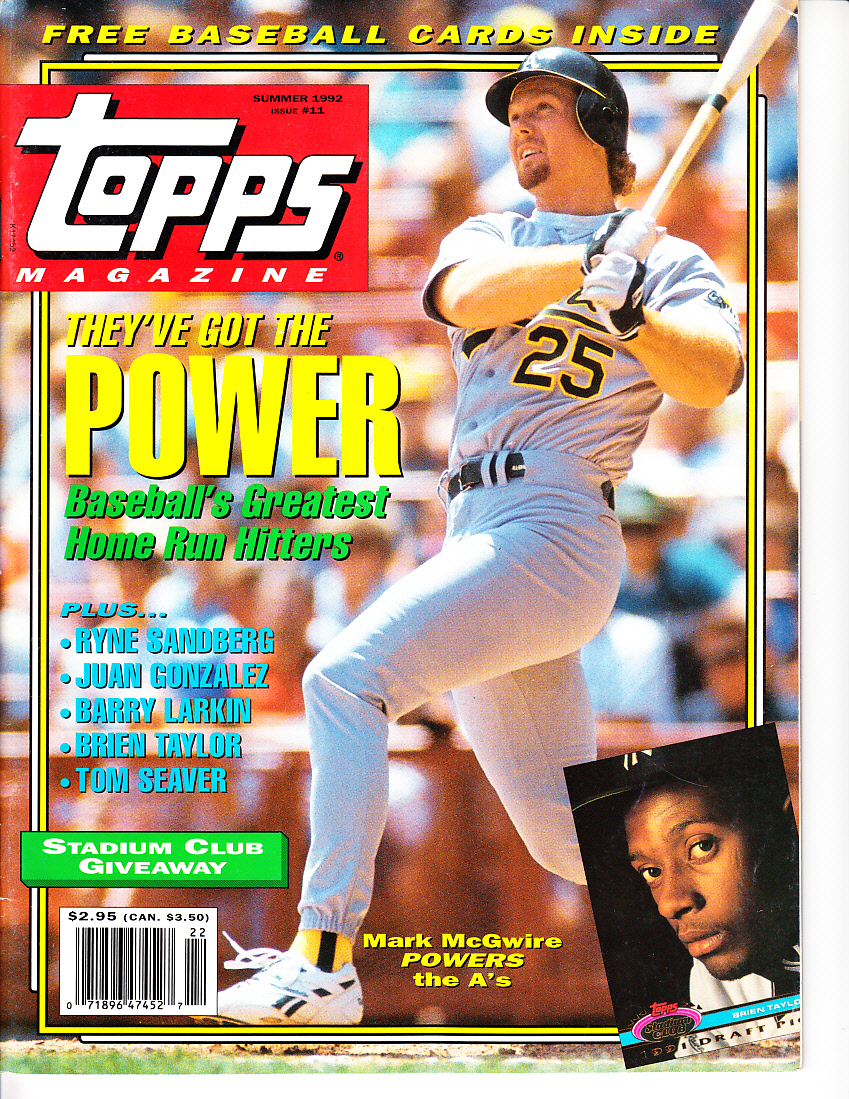 Mark Mcgwire Oakland As 1992 Topps Magazine Issue 11 With