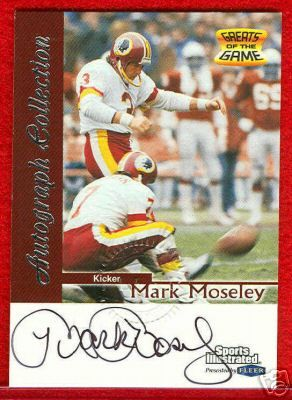 Mark Moseley certified autograph Washington Redskins 1999 Sports Illustrated card