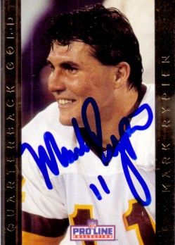 Mark Rypien autographed Washington Redskins 1992 Pro Line Quarterback Gold card