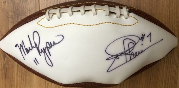 Mark Rypien and Joe Theismann autographed full size white panel football