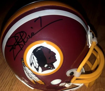 Mark Rypien and Joe Theismann autographed Washington Redskins mini helmet