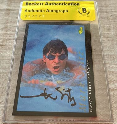 Mark Spitz autographed 1992 Classic World Class Athletes card (BAS authenticated)