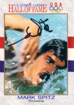 Mark Spitz autographed U.S. Olympic Hall of Fame card