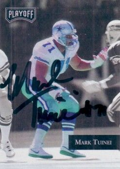 Mark Tuinei autographed Dallas Cowboys 1992 Playoff card