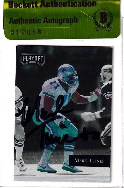 Mark Tuinei autographed Dallas Cowboys 1992 Playoff card (BAS authenticated)
