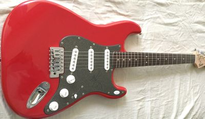 Mark Wahlberg autographed red Fender Bullet electric guitar (JSA)