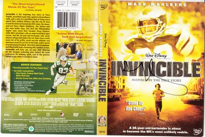 Mark Wahlberg autographed Invincible movie DVD cover insert