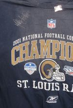 Marshall Faulk autographed St. Louis Rams 2001 NFC Champions T-shirt